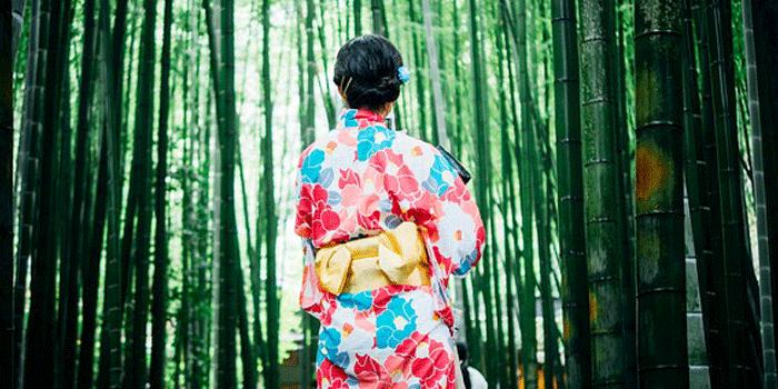 竹林に立つ着物の女性