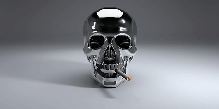 タバコを咥える骸骨