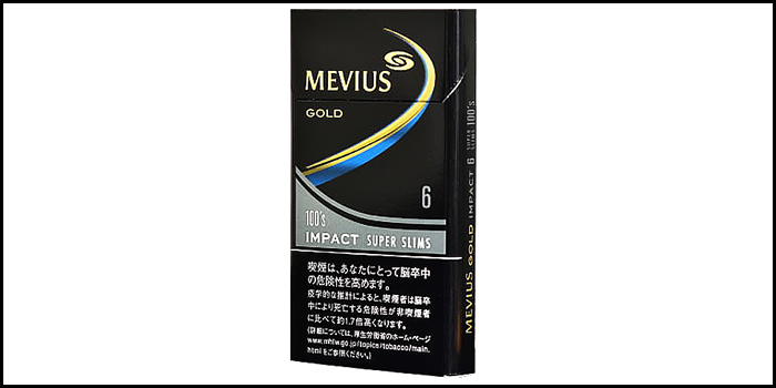 長いロングサイズタバコ銘柄:メビウスゴールドインパクト6 100'sスリム