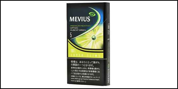 長いロングサイズタバコ銘柄:メビウスプレミアムメンソールオプションマスカットグリーン5 100'sスリム