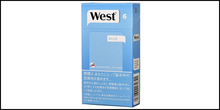 長いロングサイズタバコ銘柄:ウエストブルー100's