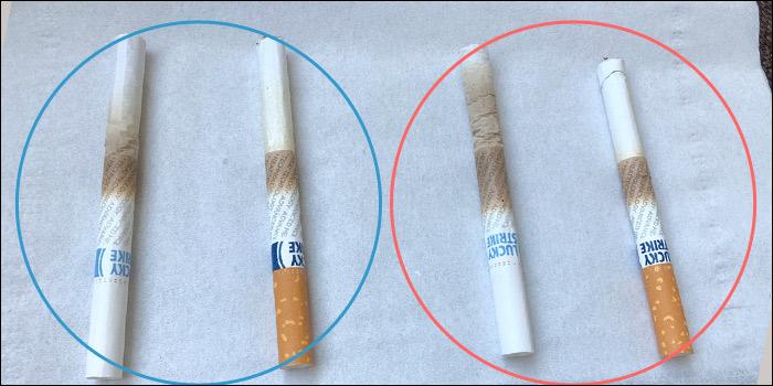 ラッキーストライク・リッチ・タバコとラッキーストライク・ダーク・タバコ 吸い殻